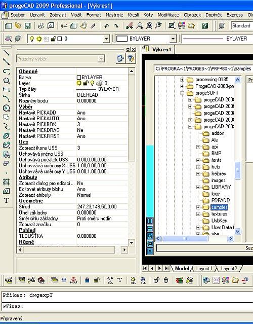 Grafické rozhraní ProgeCAD 2009